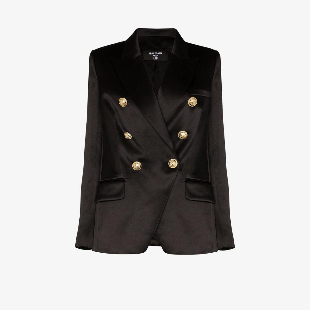 バルマン Balmain レディース スーツ・ジャケット アウター【double-breasted silk blazer】black
