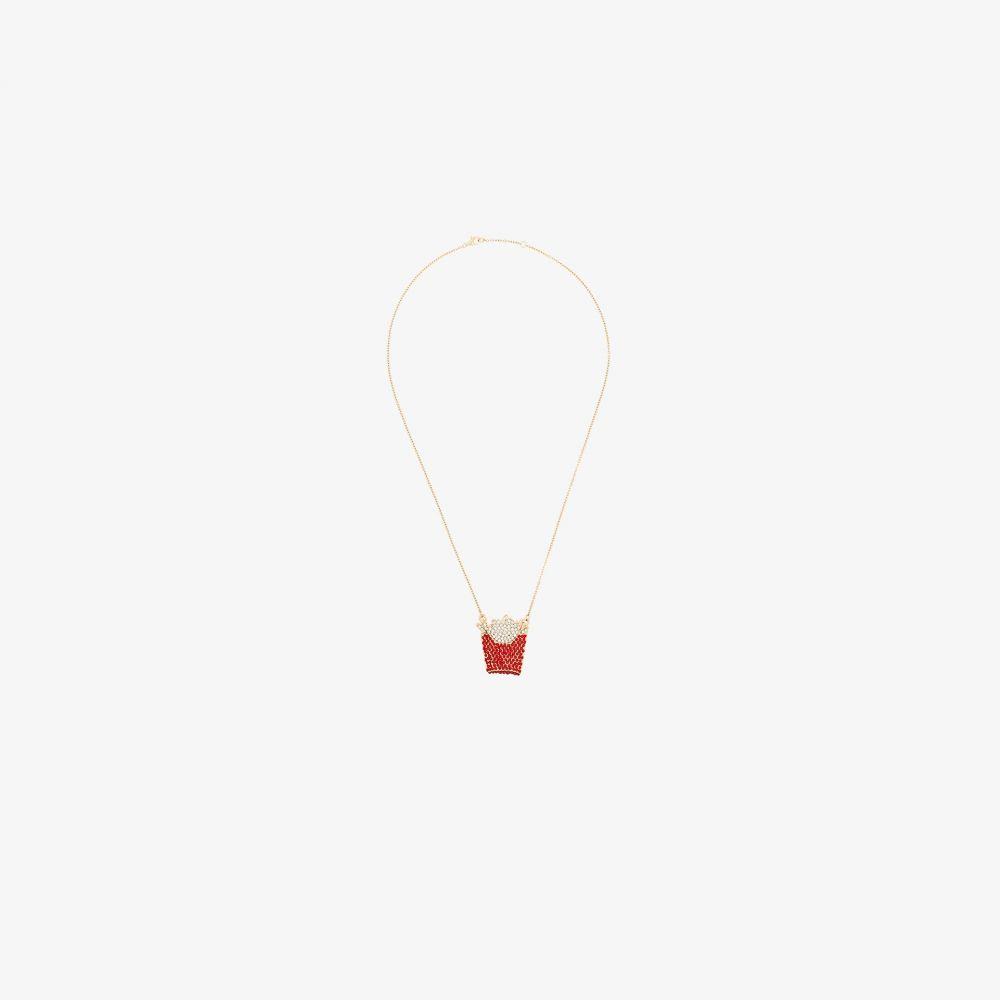 ブラウンズ Browns X Sara Shakeel レディース ネックレス ジュエリー・アクセサリー【red and gold tone crystal fries necklace】red