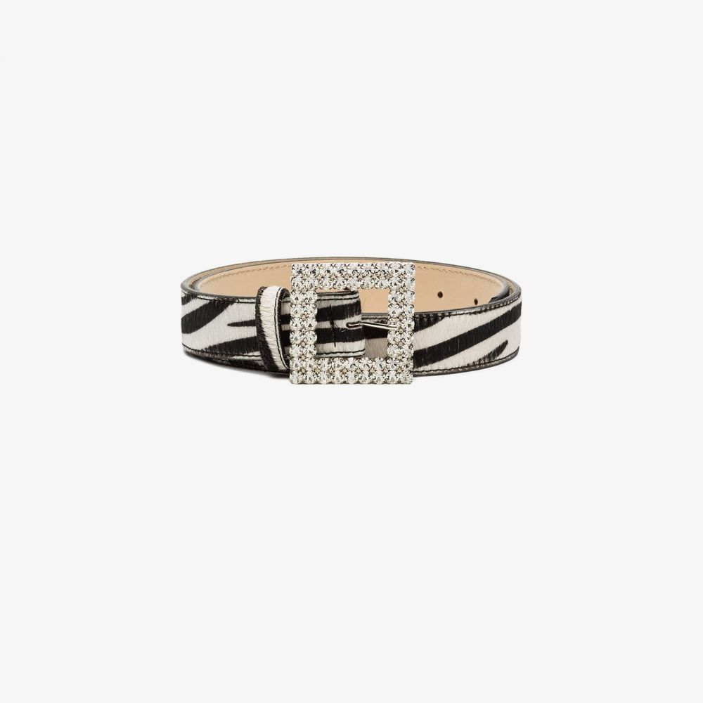 ブラック&ブラウン Black & Brown レディース ベルト 【black and white Ava zebra crystal buckle belt】black