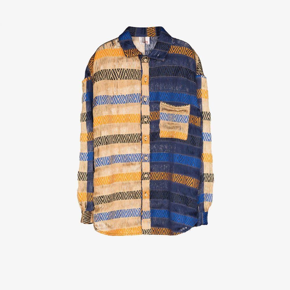 べサニー ウィリアムズ Bethany Williams メンズ シャツ トップス【handwoven colour block shirt】blue