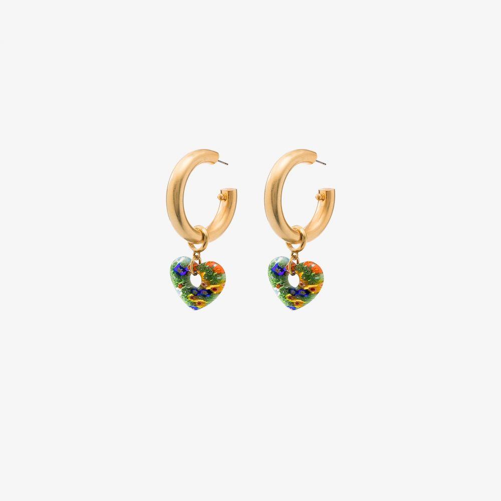 ブリンカー&エリサ Brinker & Eliza レディース イヤリング・ピアス ハート ジュエリー・アクセサリー【gold tone Lolita flower heart hoop earrings】gold