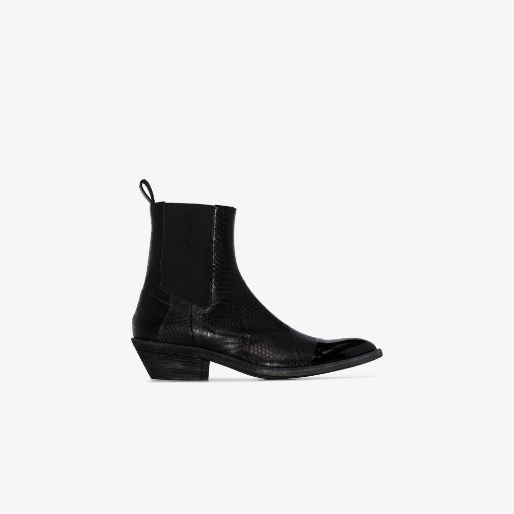 ハイダー アッカーマン Haider Ackermann メンズ ブーツ カウボーイブーツ シューズ・靴【black snake effect leather cowboy boots】black