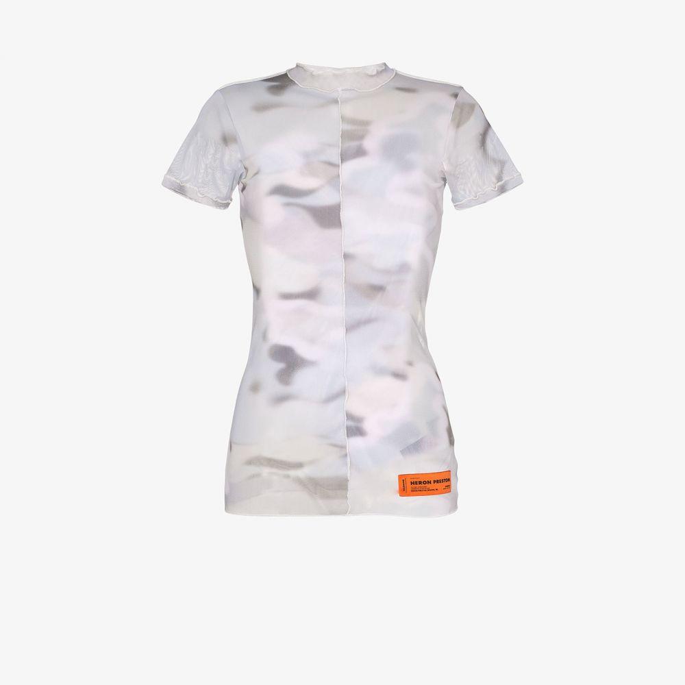 ヘロン プレストン Heron Preston レディース Tシャツ トップス【camouflage print mesh T-shirt】grey