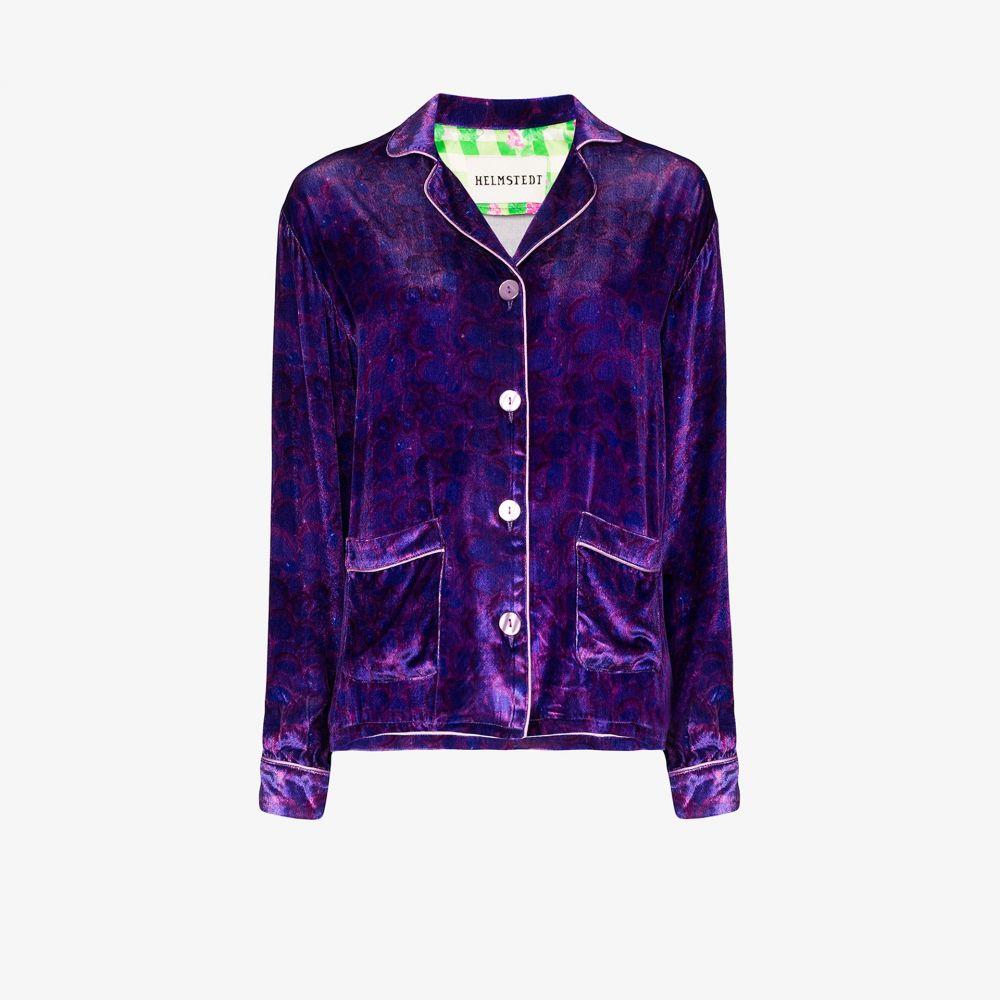 ヘルムシュテット Helmstedt レディース ブラウス・シャツ トップス【grape print velvet shirt】purple
