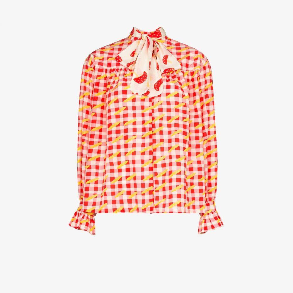 ヘルムシュテット Helmstedt レディース ブラウス・シャツ トップス【checked pussybow blouse】red