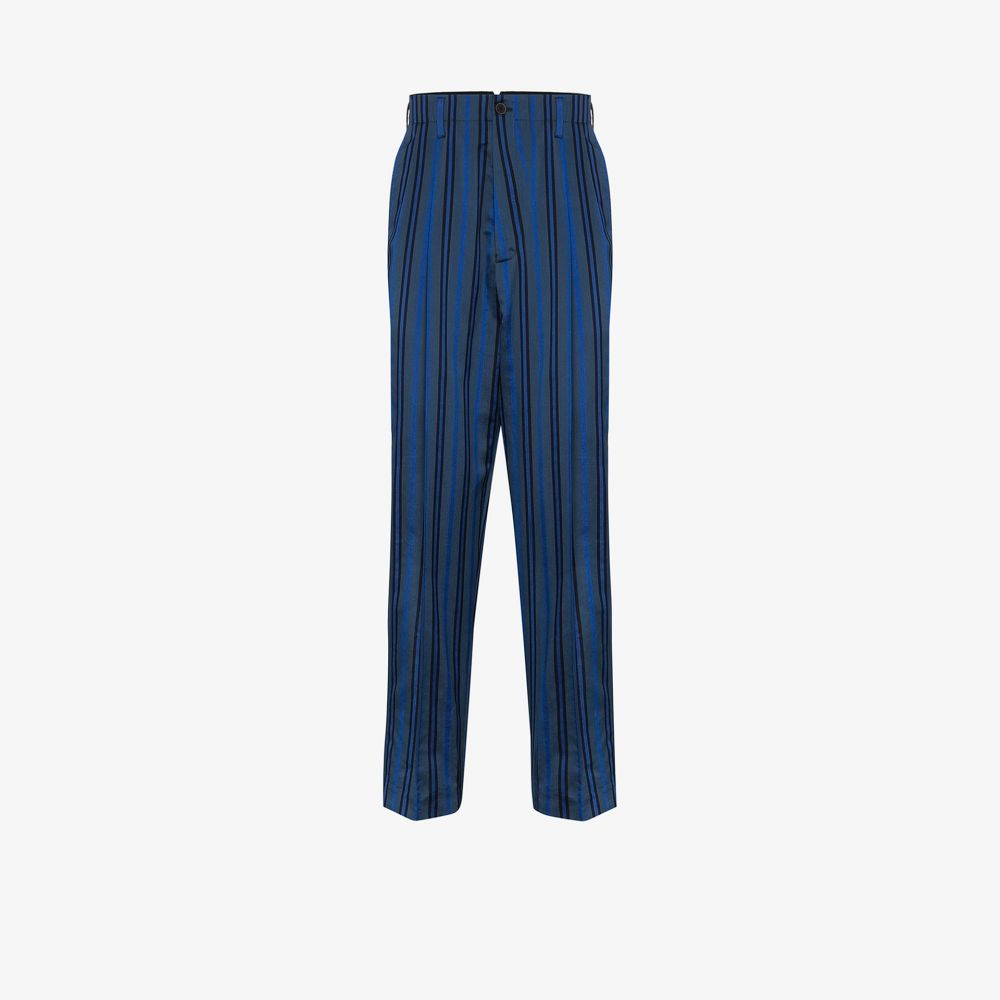 ハイダー アッカーマン Haider Ackermann メンズ ボトムス・パンツ 【striped silk and cotton blend trousers】blue