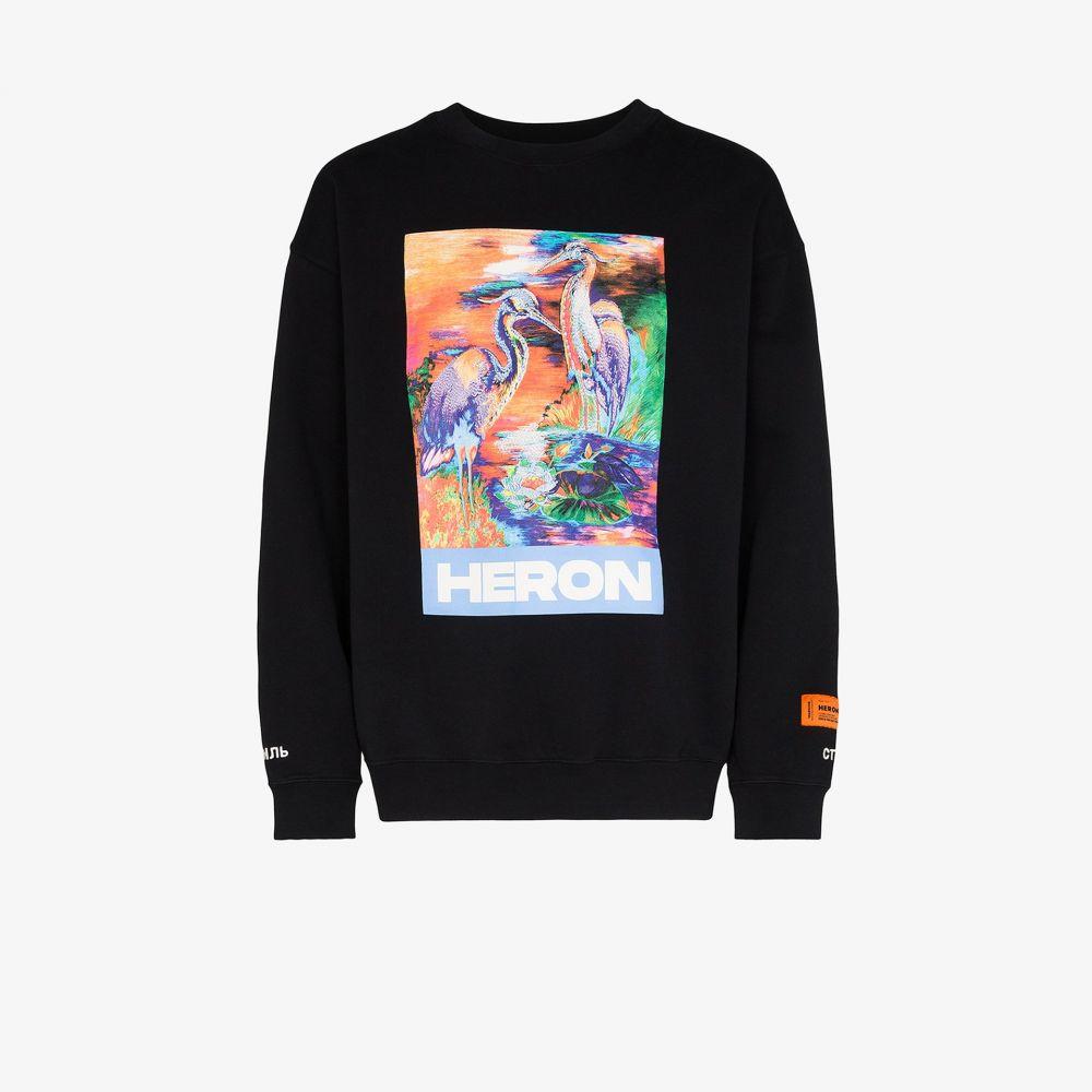 ヘロン プレストン Heron Preston メンズ 長袖Tシャツ トップス【heron print long sleeve T-shirt】black