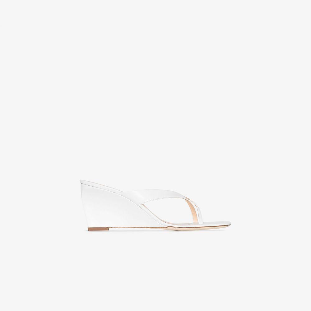 バイ ファー BY FAR レディース サンダル・ミュール ウェッジソール シューズ・靴【White Theresa Leather Wedge Sandals】white