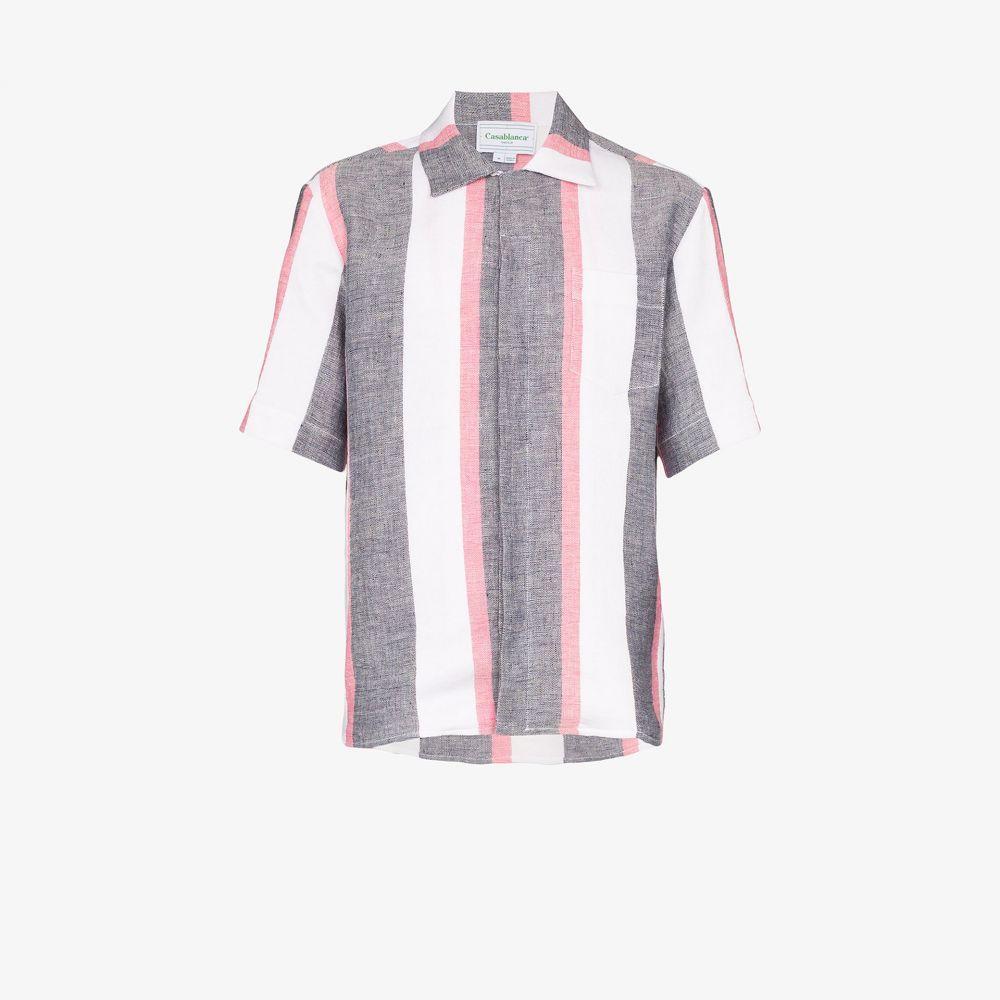 カサブランカ Casablanca メンズ シャツ トップス【Jolie striped linen shirt】blue