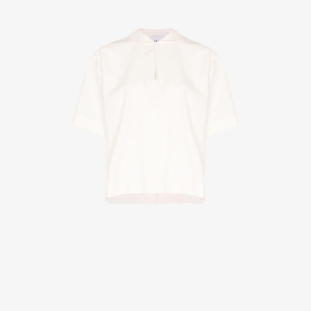 カーセル Carcel レディース ポロシャツ Vネック トップス【V-neck silk polo top】white