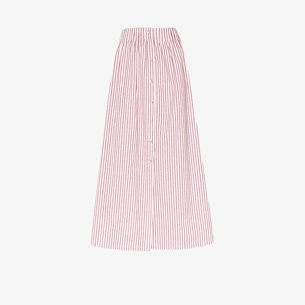 バイエニィアザーネーム By Any Other Name レディース ひざ丈スカート スカート【striped cotton midi skirt】white