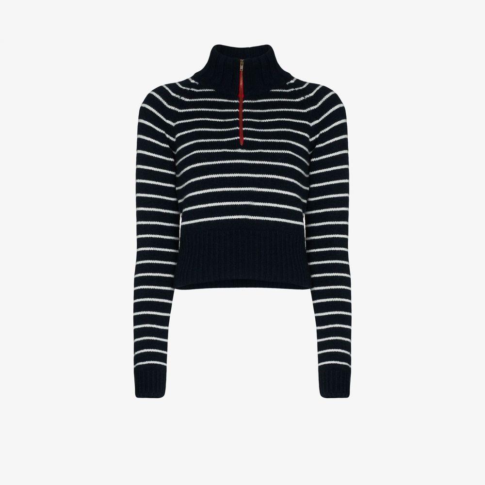 バイエニィアザーネーム By Any Other Name レディース ニット・セーター トップス【striped zip neck cashmere sweater】blue