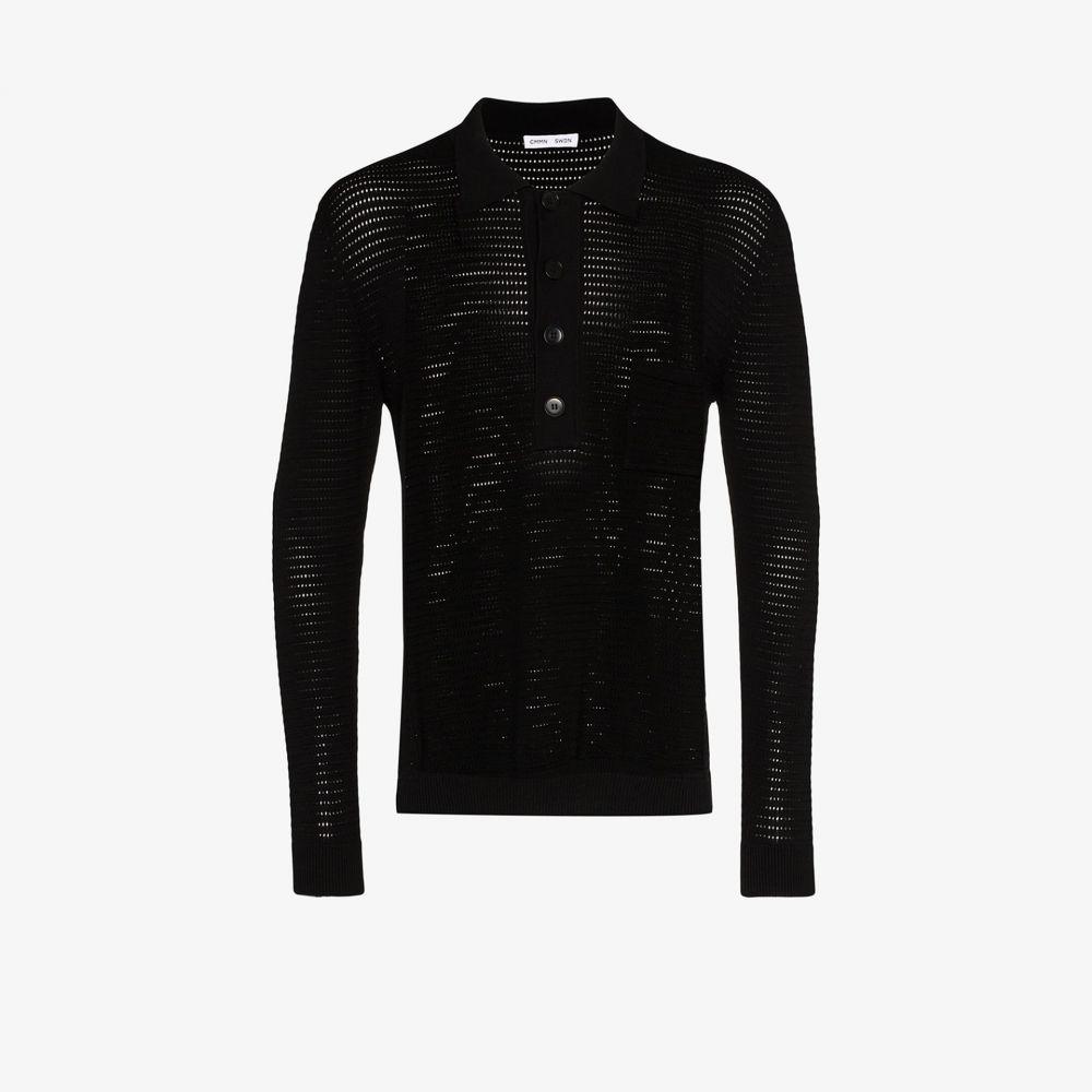 コモン スウェーデン Cmmn Swdn メンズ ポロシャツ トップス【Curtis crochet knit polo sweater】black