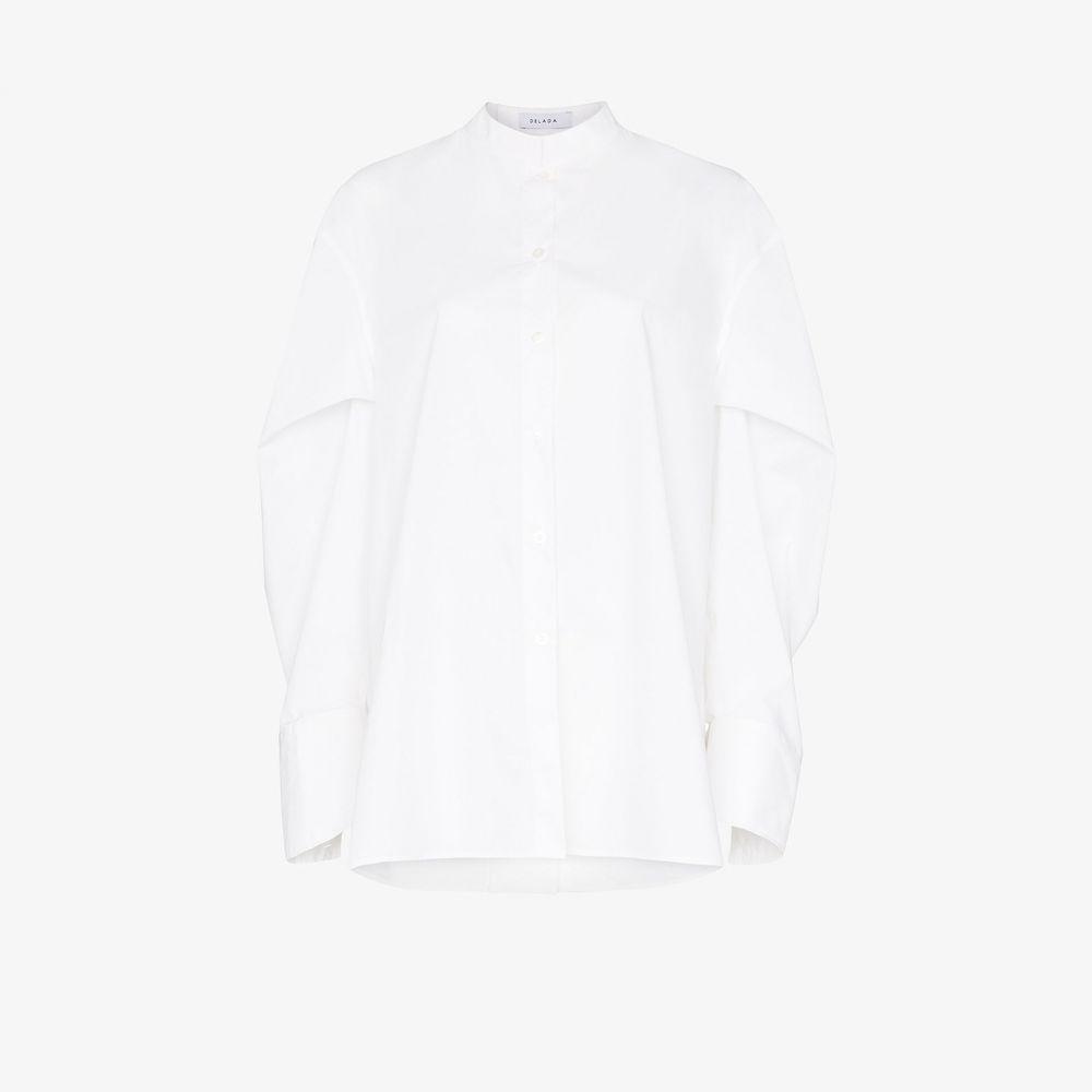 デラダ Delada レディース ブラウス・シャツ トップス【pouf sleeve cotton shirt】white