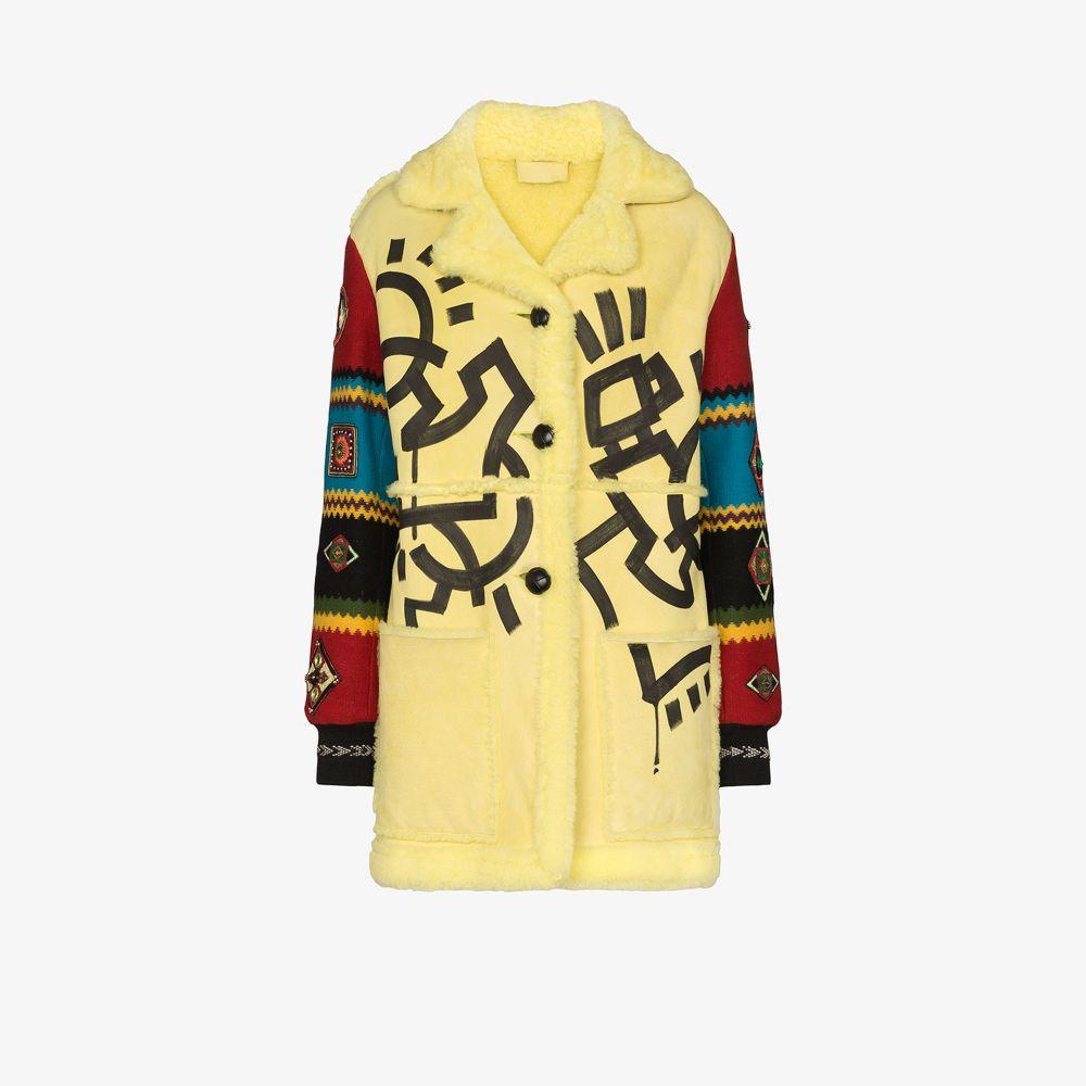 デュラン ランティンク Duran Lantink レディース コート シアリング アウター【aztec faux shearling wool coat】yellow