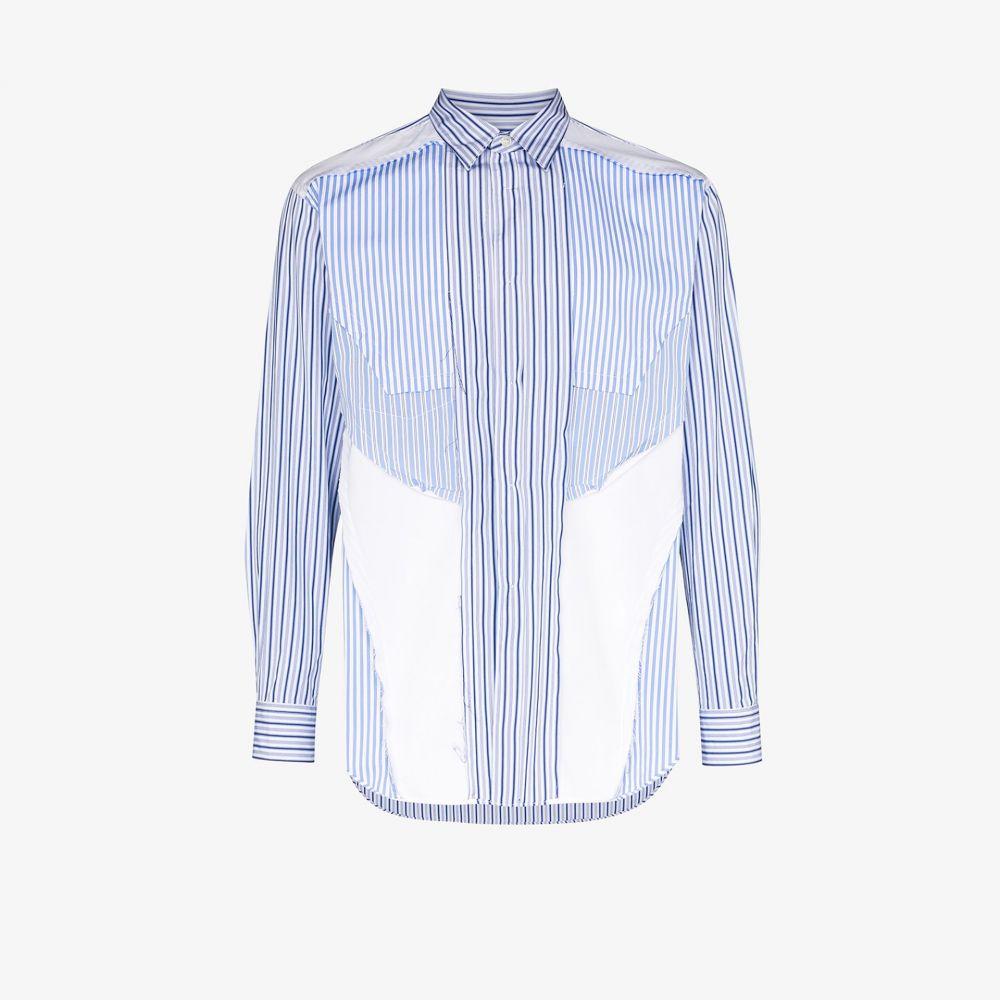 コム デ ギャルソン Comme Des Garcons Shirt メンズ シャツ トップス【striped patchwork cotton shirt】blue
