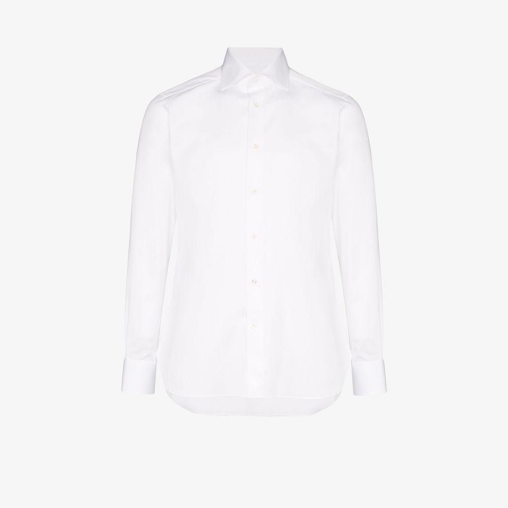 エルメネジルド ゼニア Ermenegildo Zegna メンズ シャツ トップス【classic piping cotton shirt】white