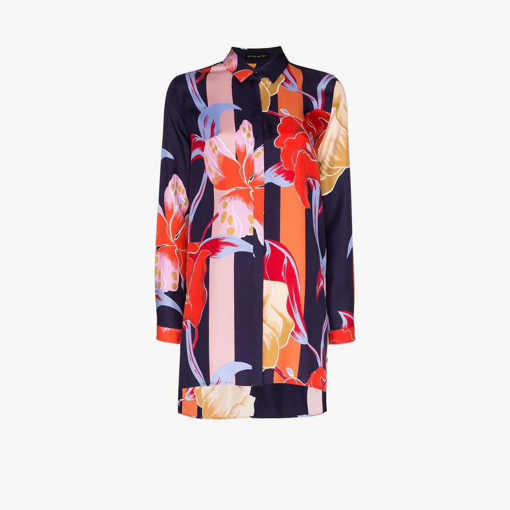エトロ Etro レディース ブラウス・シャツ トップス【Oversized floral print silk shirt】blue