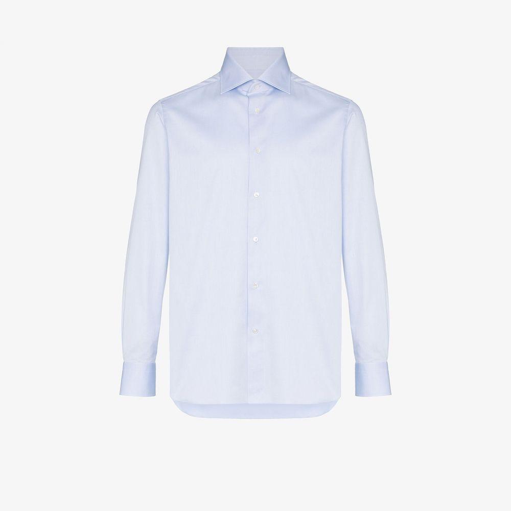 エルメネジルド ゼニア Ermenegildo Zegna メンズ シャツ トップス【cotton button-down shirt】blue