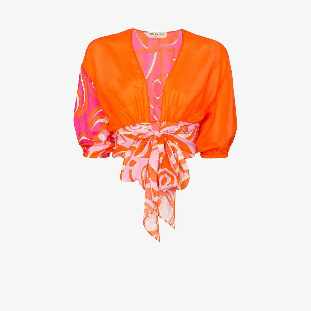 エミリオ プッチ Emilio Pucci レディース ブラウス・シャツ トップス【abstract print tie blouse】orange