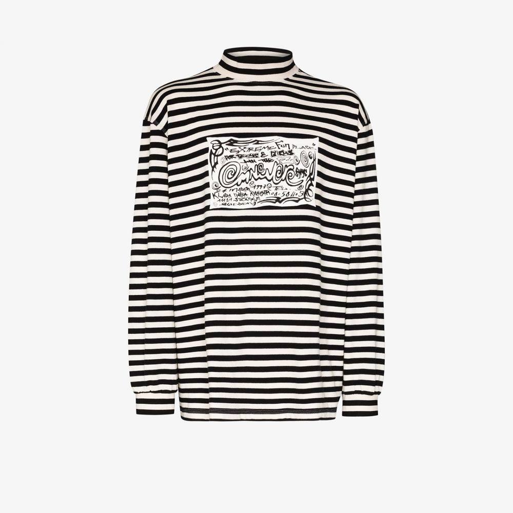 エイティーズ Eytys メンズ Tシャツ トップス【striped logo patch T-shirt】black