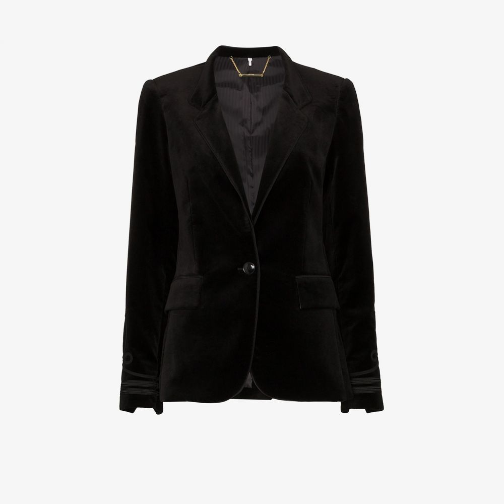 フレーム FRAME レディース ジャケット アウター【Stand Soutache embroidered velvet jacket】black