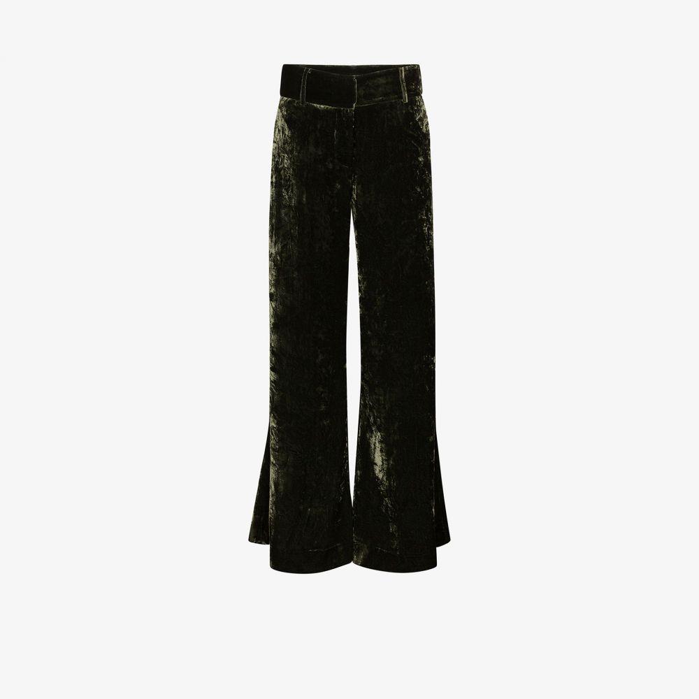 フレーム FRAME レディース ボトムス・パンツ ワイドパンツ【Panne crushed velvet wide leg trousers】green