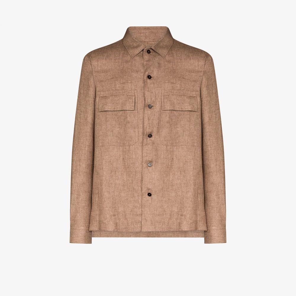 エルメネジルド ゼニア Ermenegildo Zegna メンズ シャツ トップス【flap pocket linen shirt】brown