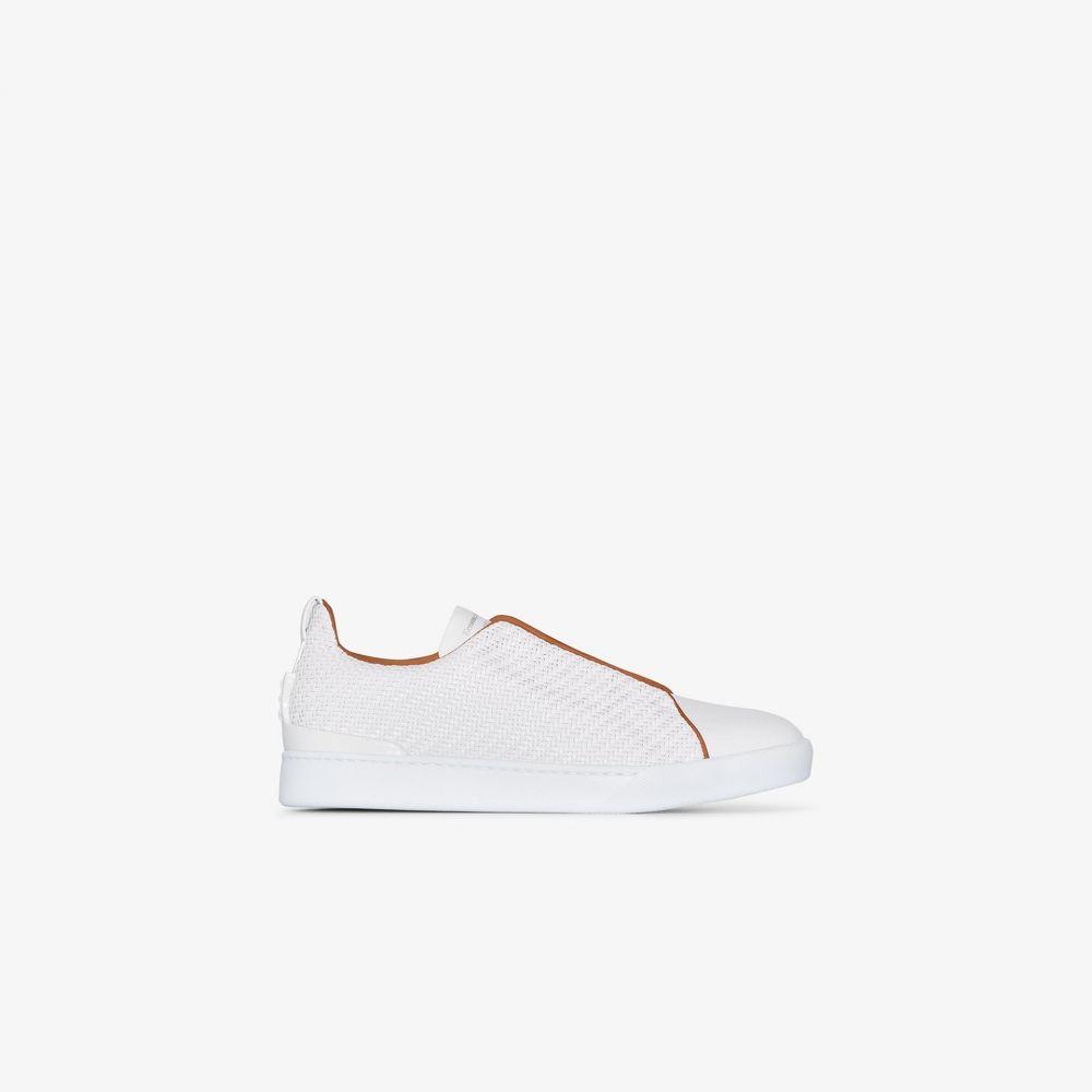 エルメネジルド ゼニア Ermenegildo Zegna メンズ スニーカー シューズ・靴【white triple stitch woven leather sneakers】white