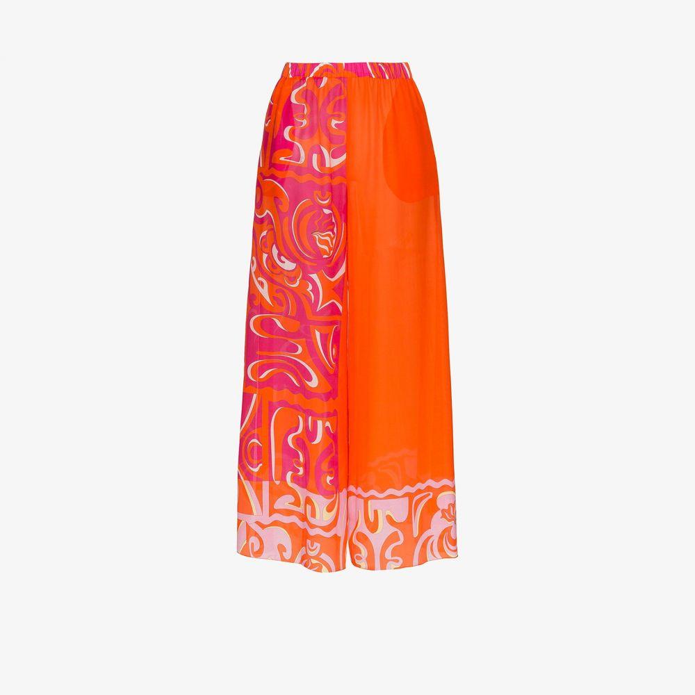 エミリオ プッチ Emilio Pucci レディース ビーチウェア ワイドパンツ ボトムス・パンツ 水着・ビーチウェア【wide leg printed beach trousers】orange