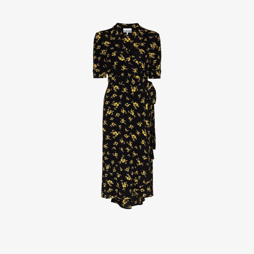 ガニー GANNI レディース ワンピース ラップドレス ワンピース・ドレス【floral printed wrap dress】black
