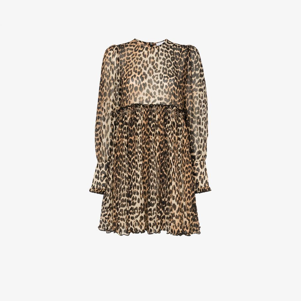ガニー GANNI レディース パーティードレス ミニ丈 ワンピース・ドレス【leopard print mini dress】black