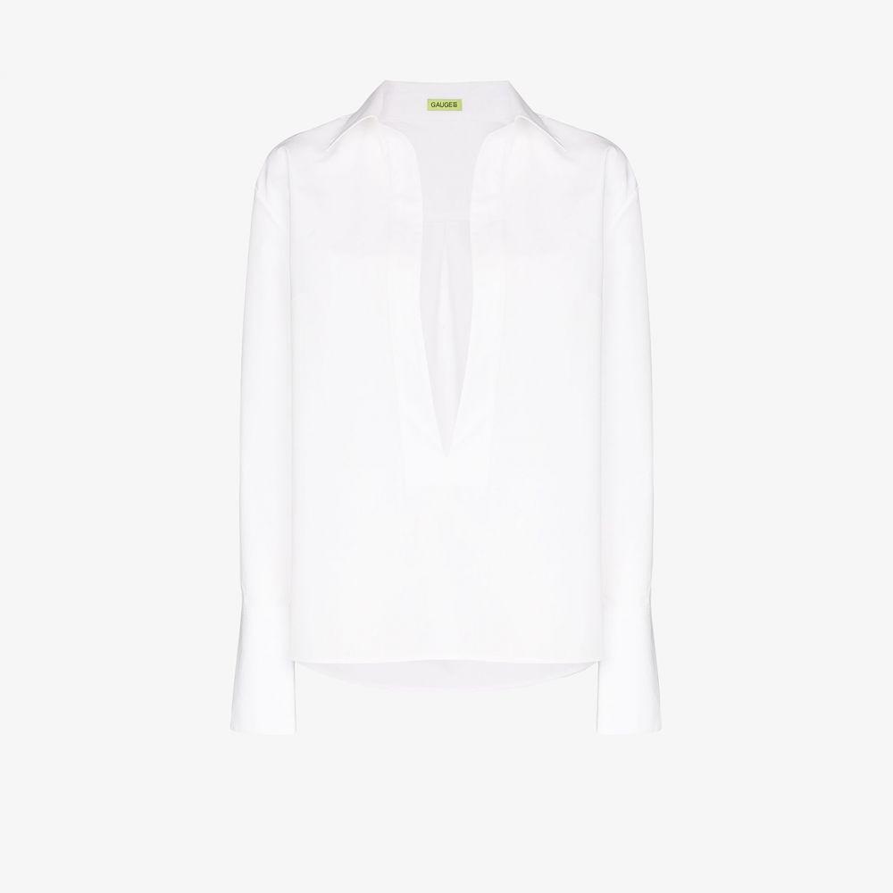 ゲージ81 GAUGE81 レディース ブラウス・シャツ Vネック トップス【Serena deep V-neck cotton shirt】white