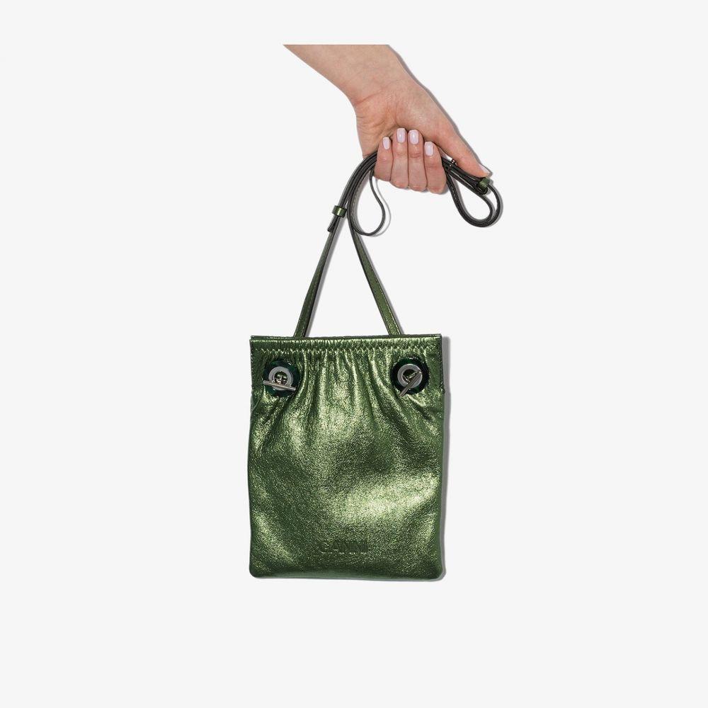 ガニー GANNI レディース ショルダーバッグ バッグ【green ruched eyelet leather cross body bag】green