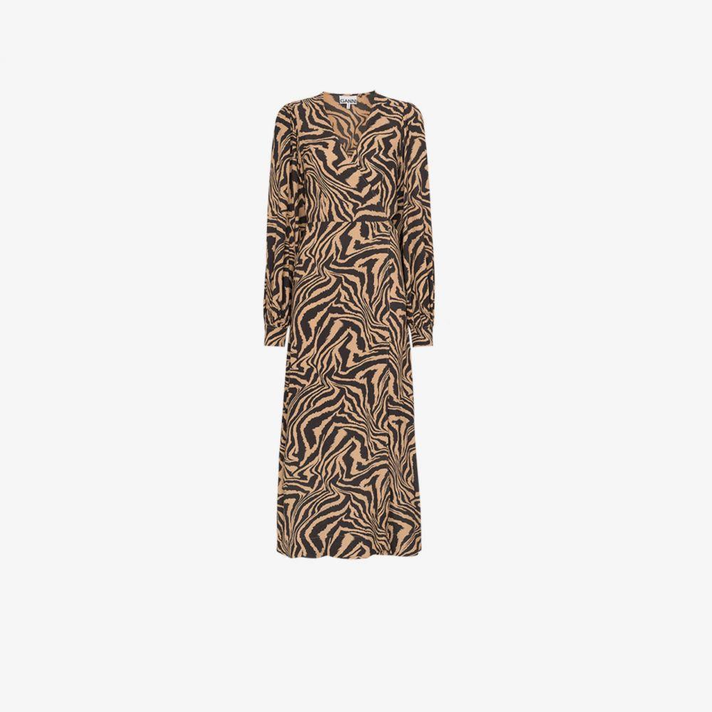 ガニー GANNI レディース ワンピース ラップドレス ワンピース・ドレス【Zebra print wrap dress】brown