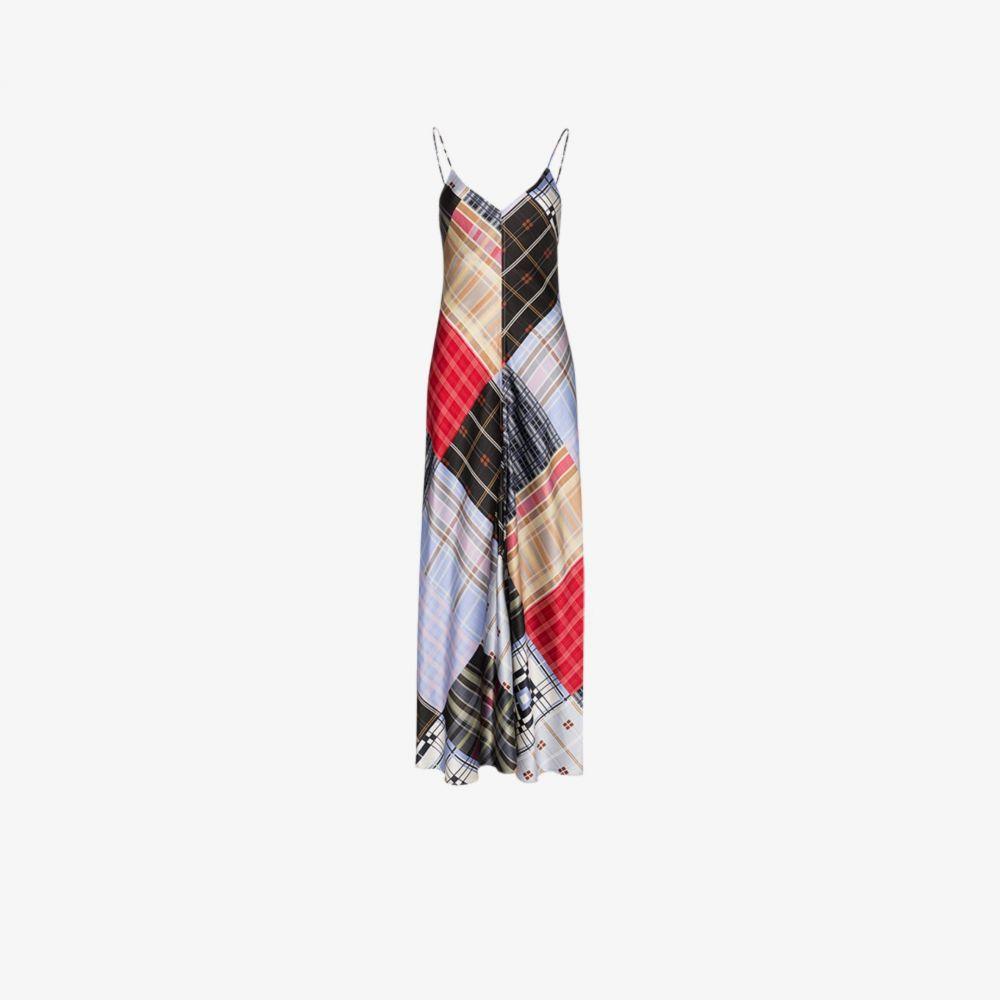 ガニー GANNI レディース ワンピース マキシ丈 ワンピース・ドレス【mixed check print silk Maxi Dress】blue