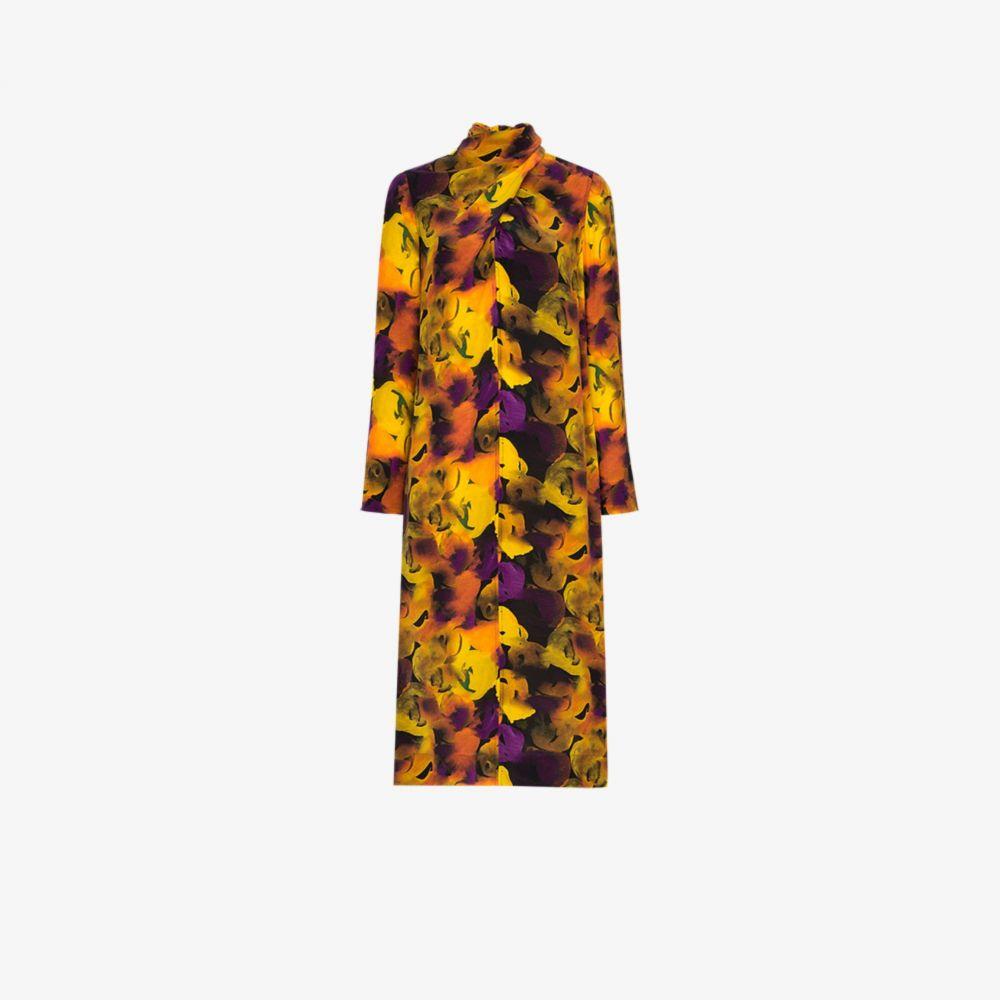 ガニー GANNI レディース ワンピース ワンピース・ドレス【Floral Print Silk Midi Dress】yellow