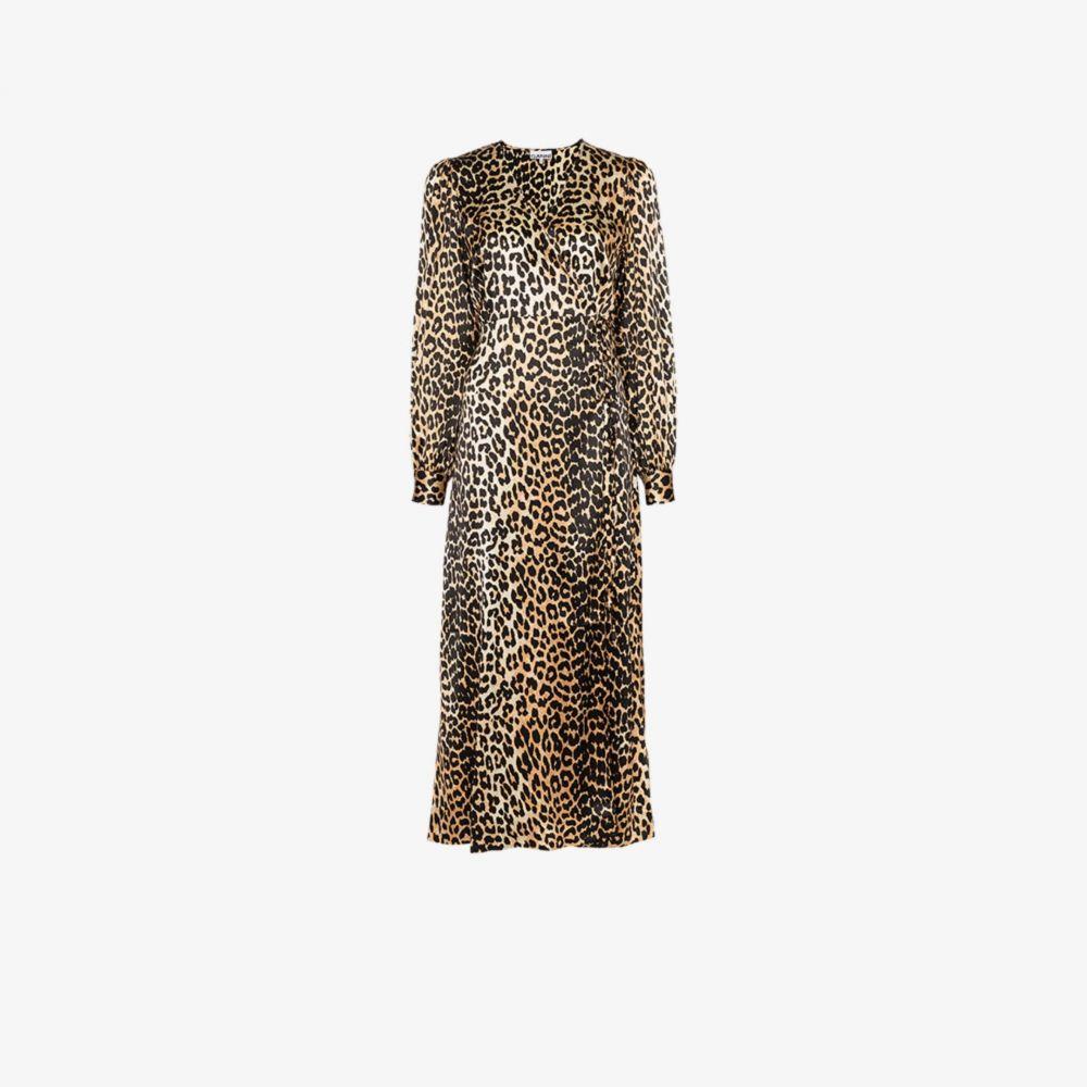 ガニー GANNI レディース パーティードレス ラップドレス ワンピース・ドレス【leopard print silk wrap dress】brown