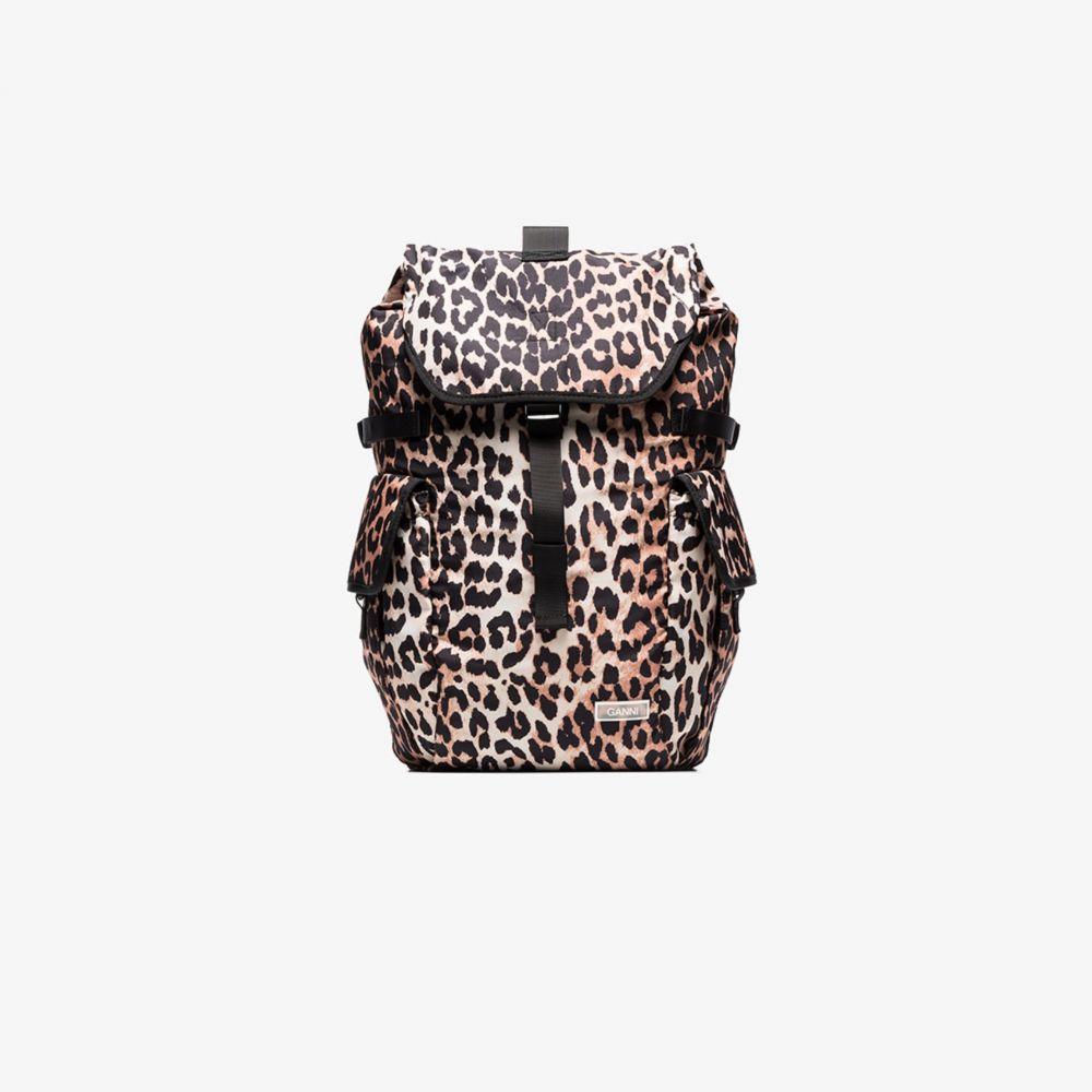ガニー GANNI レディース バックパック・リュック バッグ【Brown Leopard Print Backpack】black
