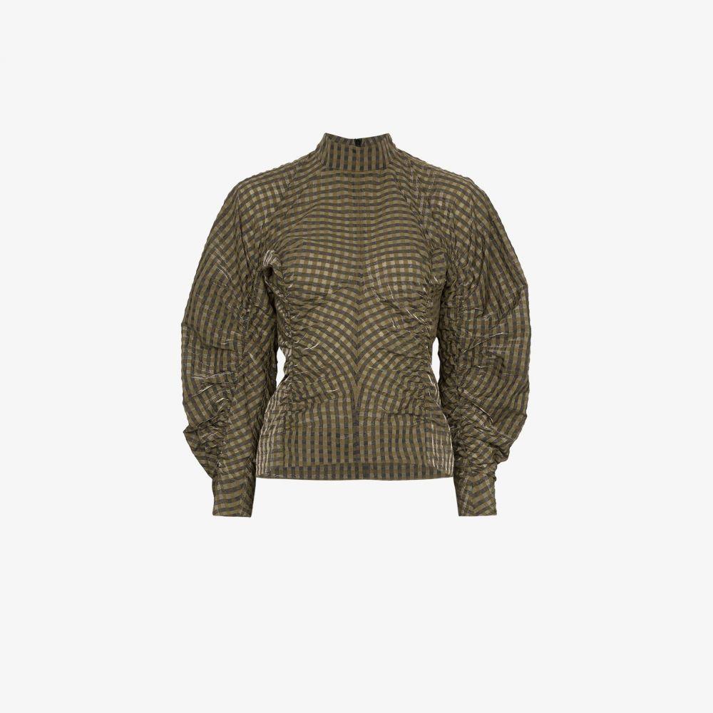 ガニー GANNI レディース ブラウス・シャツ トップス【gathered check blouse】brown