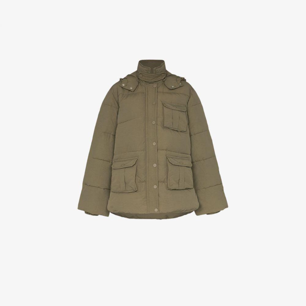 ガニー GANNI レディース ダウン・中綿ジャケット アウター【Short pocket detail puffer jacket】brown
