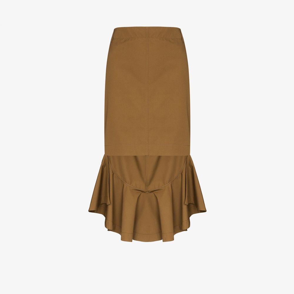 ジバンシー Givenchy レディース スカート 【asymmetric ruffled cotton skirt】brown