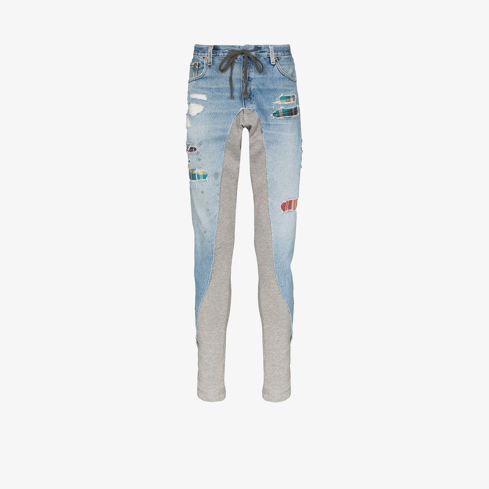 グレッグ ローレン Greg Lauren メンズ ジーンズ・デニム ボトムス・パンツ【50/50 panelled slim fit jeans】blue
