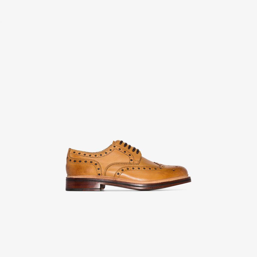 グレンソン Grenson メンズ 革靴・ビジネスシューズ メダリオン シューズ・靴【Light brown Archie leather brogues】brown