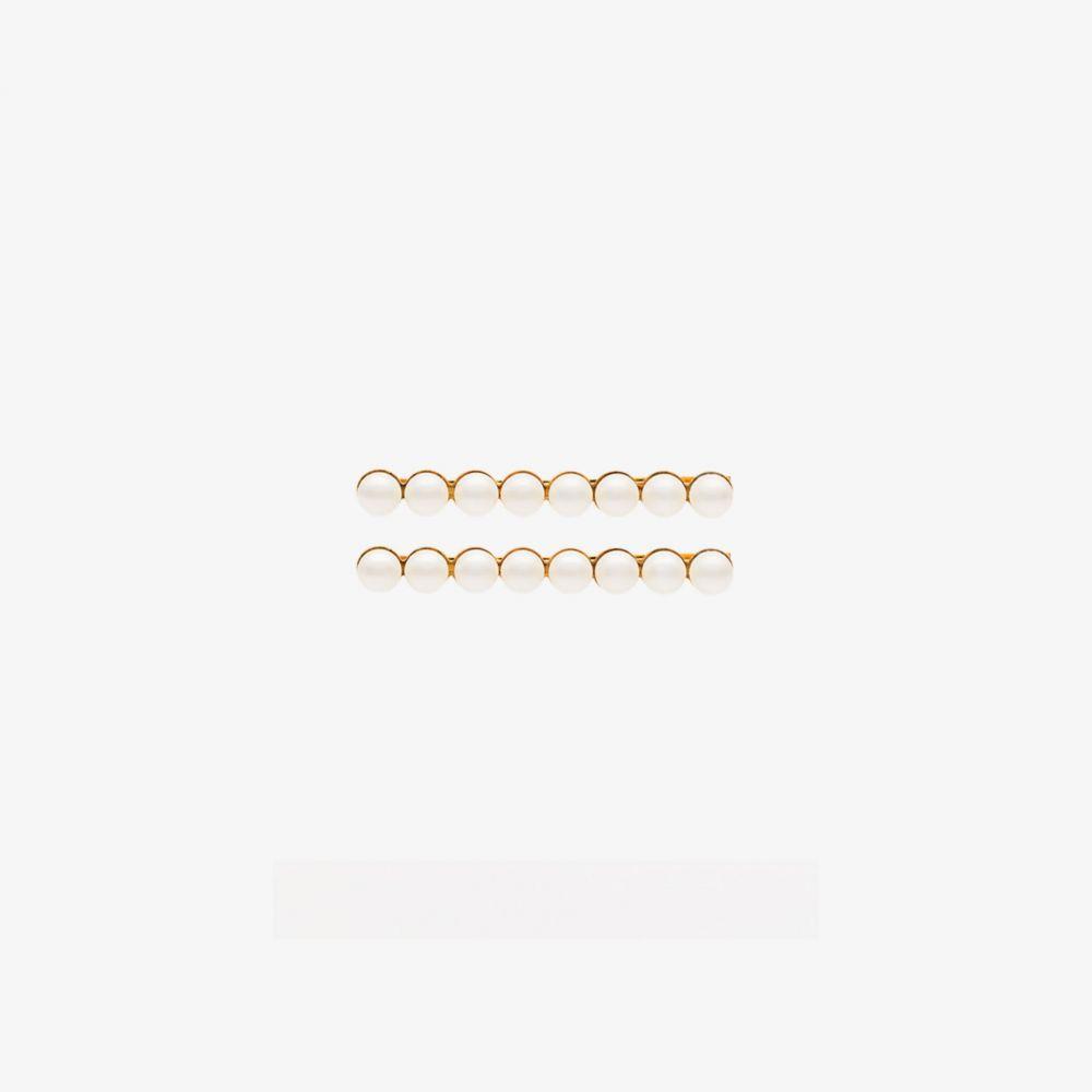 ジェニファーベア Jennifer Behr レディース ヘアアクセサリー 【Gold Tone Gracie pearl set of hair clips】white