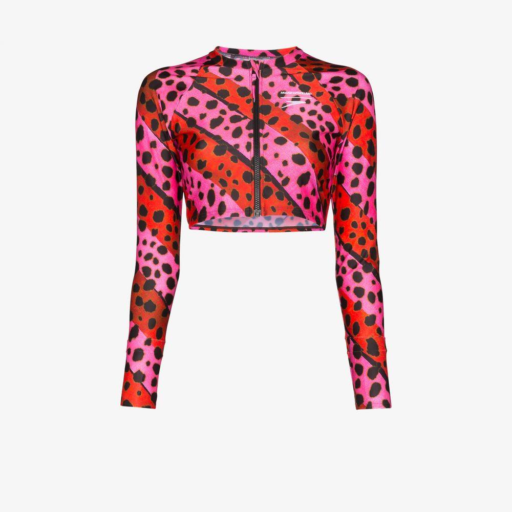 ハウス オブ ホーランド House of Holland レディース トップのみ 水着・ビーチウェア【cheetah stripe zip bikini top】pink