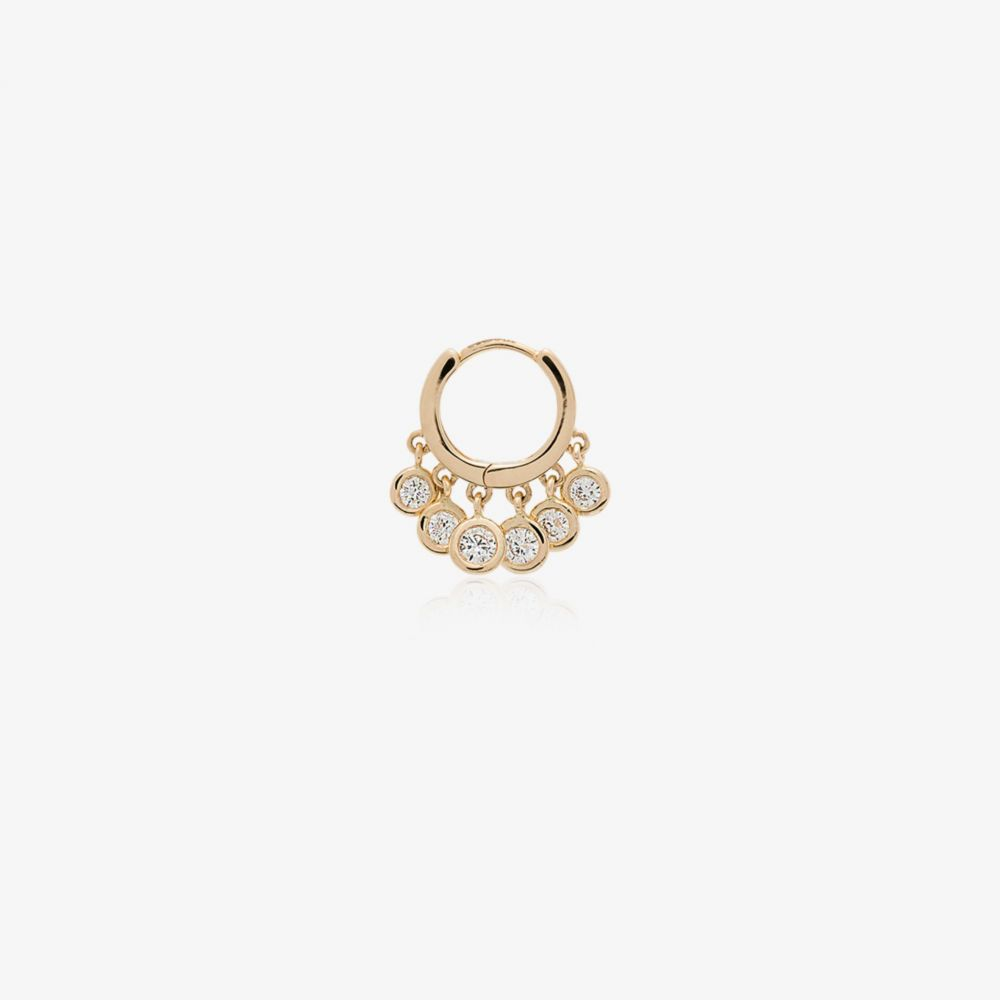 ジャッキーアイチェ Jacquie Aiche レディース イヤリング・ピアス フープピアス ジュエリー・アクセサリー【14K yellow gold diamond hoop single earring】gold