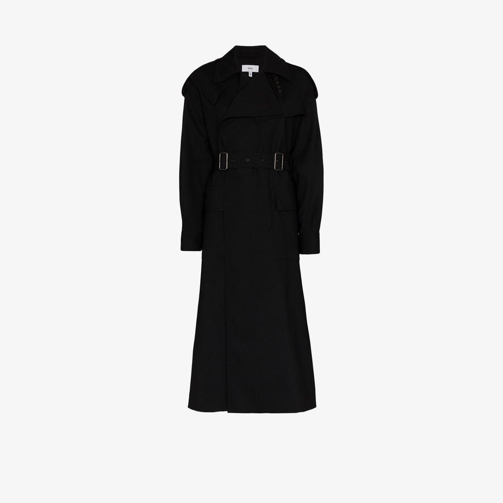 ハイク Hyke レディース トレンチコート アウター【double buckle belted trench coat】black