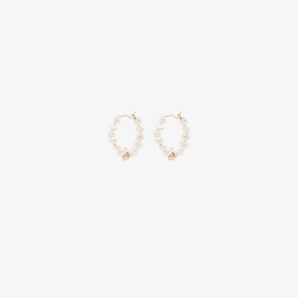 ホリー ライアン Holly Ryan レディース イヤリング・ピアス ジュエリー・アクセサリー【Yellow Gold-Plated Pearl Hoop Earrings】white
