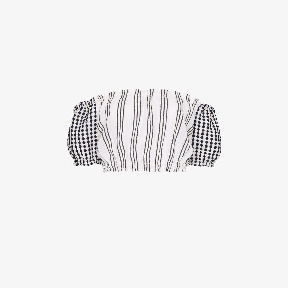 レムレム lemlem レディース ビーチウェア トップス 水着・ビーチウェア【Tigist striped off-the-shoulder crop top】white